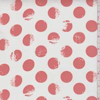 White/Petal Red Polka Dot Chiffon