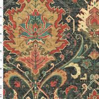 *1 1/2 YD PC--Black/Orange/Multi Aztec Print Linen Canvas Décor Fabric