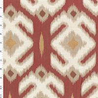 *2 YD PC--Deep Red/Ivory/Multi Crest Jacquard Decorating Fabric