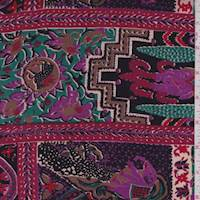 Black/Ruby/Grape India Block Rayon Challis