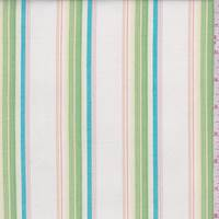 White/Aqua/Lime Stripe Cotton Poplin
