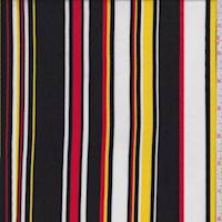 Black/Yellow/Red Stripe Rayon Challis