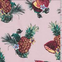 Soft Pink Tropical Fruit Rayon Challis