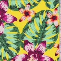 Bright Yellow Multi Tropical Floral Rayon Challis