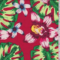 Red Multi Tropical Floral Rayon Challis