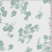 White/Jade Tossed Floral Rayon Challis
