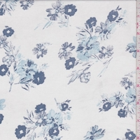 White/Ink Tossed Floral Rayon Challis