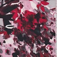 Crimson/Pink/Black Mottled Floral Crepe Georgette