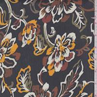 Black/Orange/Rust Sketch Floral Georgette