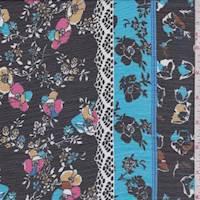 Aqua/Black Multi Floral Stripe Crinkle Chiffon