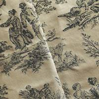 *2 1/2 YD PC--Beige/Black Toile Jacquard Home Decorating Fabric