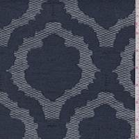 Navy Blue Scalloped Medallion Jacquard Mesh