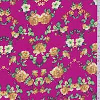 *2 1/2 YD PC--Raspberry Pink Multi Floral Challis