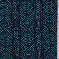 *1 5/8 YD PC--Aqua/Black Aztec Stripe Liverpool Knit