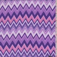 *4 1/2 YD PC--Purple/Pink Zig Zag Peachskin