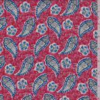 *5 1/8 YD PC--Red Multi Paisley Crepe De Chine