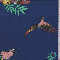 Deep Blue Multi Parrot Floral Double Brushed Jersey Knit