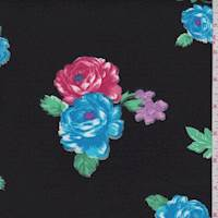 Black/Aqua Floral Double Brushed Jersey Knit