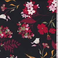 Black/Ruby Pop Floral Double Brushed Jersey Knit