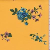 Goldenrod Floral Cluster Double Brushed Jersey Knit
