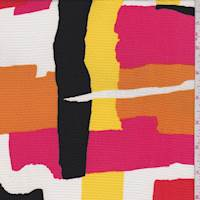 Orange/Pink/Yellow Abstract Textured Crepe