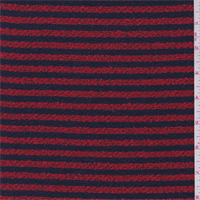 *1 1/4 YD PC Bright Red/Navy Stripe Boucle
