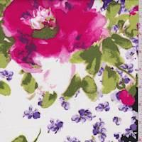 *3 YD PC--Black/Lilac Bold Floral Poplin