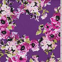 *1 7/8 YD PC--Purple Floral Cluster Poplin