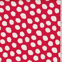 *1 1/4 YD PC--Red/White Jagged Polka Dot Stretch Sateen