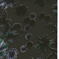 *1/2 YD PC--Black/Blue/Teal Velvet Flocked Floral Chiffon