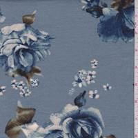 *2 YD PC--Dusty Blue Rose Pique Knit