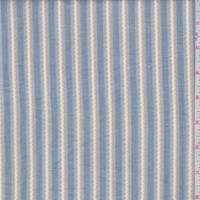 *1 YD PC--Stone Blue/Yellow Embroidered Stripe Cotton