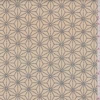 Tea/Navy Stitched Star Print Cotton