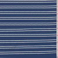 Ocean Blue/White Stripe Jersey Knit
