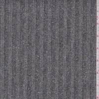 Black Herringbone Stripe Tweed Denim