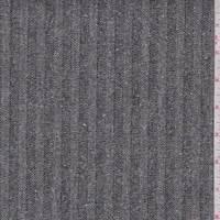 Black Herringbone Stripe Tweed Denim