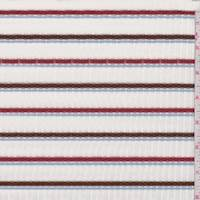 White/Rust/Mocha Stripe Poor Boy Rib Knit