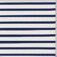 White/Dark Blue Stripe Jersey Knit