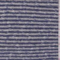 White/Violet Blue Stripe Sweater Knit