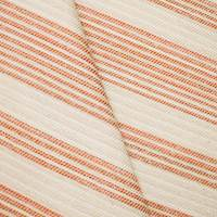 *7/8 YD PC -- Beige/Orange/White Donghia Indoor/Outdoor Stripe Woven Decorating Fabric