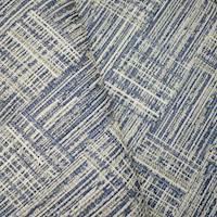 *1 7/8 YD PC -- Blue/Ivory/Taupe Indoor/Outdoor Textured Jacquard Decorating Fabric