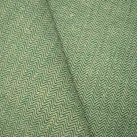 *1 YD PC -- Deep Green/Beige Linen Blend Chevron Home Decorating Fabric