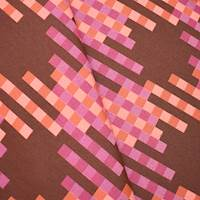 *1 1/2 YD PC -- Brown/Coral/Multi Indoor/Outdoor Pixel Jacquard Home Decorating Fabric