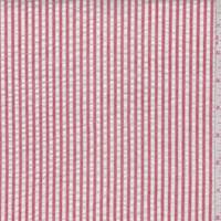 Dusty Red/White Cotton Stripe Seersucker