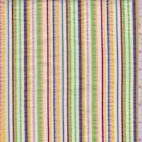 White Multi Stripe Cotton Seersucker