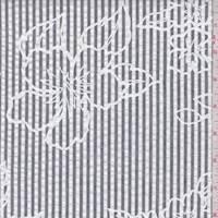 White/Slate Stripe Floral Seersucker