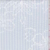 White/Cloud Blue Stripe Floral Seersucker