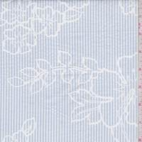 White/Soft Blue Stripe Floral Seersucker