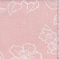 White/Tangerine Stripe Floral Seersucker
