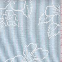 White/Teal Stripe Floral Seersucker